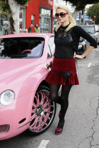 Paris Hilton Out Shopping With Her New Pink Bentley
