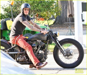 David Beckham driving around on his motorcycle in Beverly Hills.